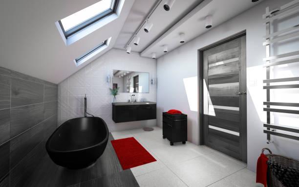 Salle de bain contemporaine aménagée sous les combles