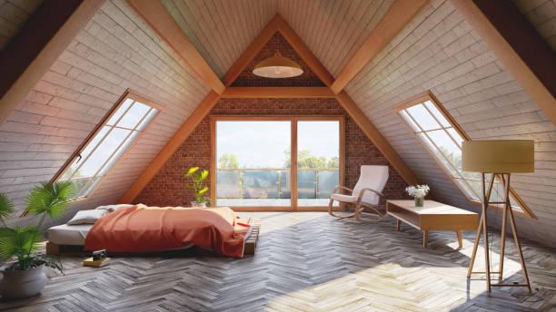 Chambre moderne aménagée dans les combles